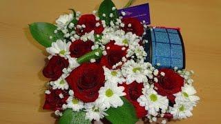 Цветы в коробочке.Розы/хризантемы/гипсофила/рускус/ Подарок на любой случай жизни своими руками)))