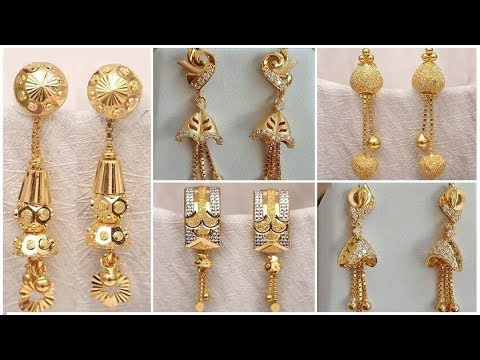 latest light weight gold earrings designs with weight and