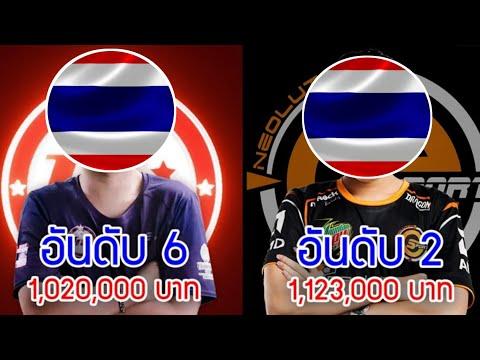 10 อันดับนักกีฬา Esport ที่รวยที่สุดในไทย ปี2018 (นับเฉพาะเงินรางวัล)