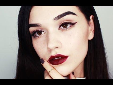 Burgundy eyeliner/lips makeup tutorial thumbnail