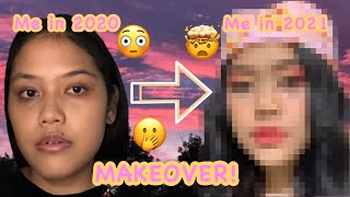 2021Transformation Look | Fruity Makeup Aesthetic | At home makeover | New year new look