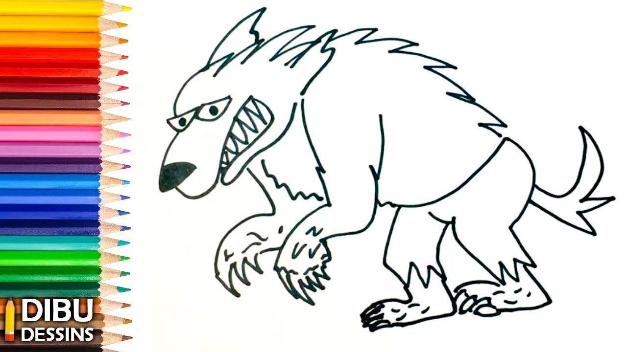 Comment dessiner un loup garou tape par tape youtube - Loup dessin facile ...