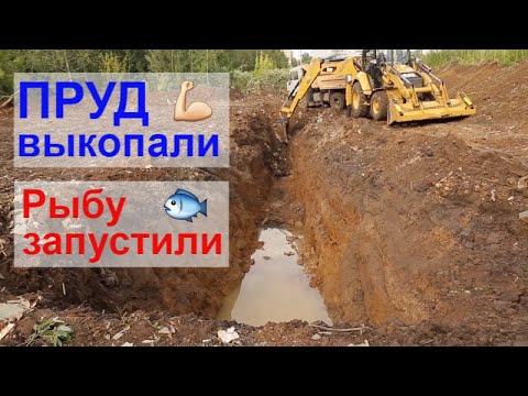 Пруд выкопали, рыбу запустили. Пруд на свалке без пленки. Часть 3.