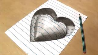 Drawing Heart, Trick Art on Line Paper, Drawing with Charcoal Pencil