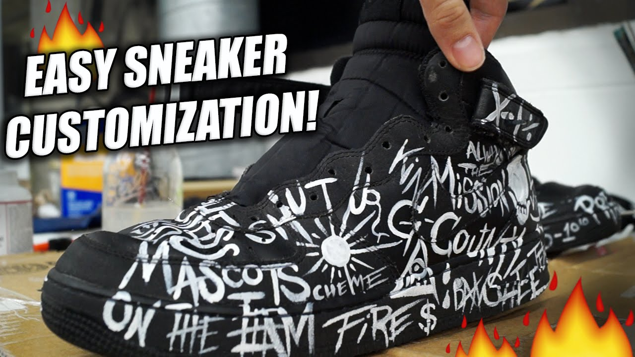 626c2f84b0fe Easiest Way To Customize Sneakers! Tutorial  Repaint and Restore Air Force  Ones with Words! - YouTube