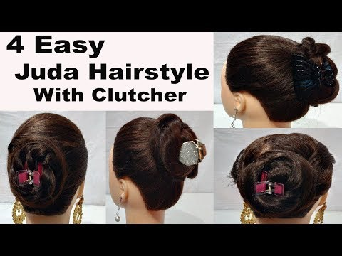 4 easy juda Clutcher Bun Hairstyles || hair style girl || hairstyles || new hairstyles 2018 thumbnail