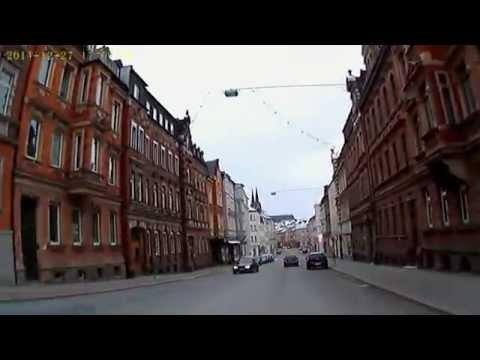D: Hof/Saale. Fahrt durch die Stadt. Dezember 2014
