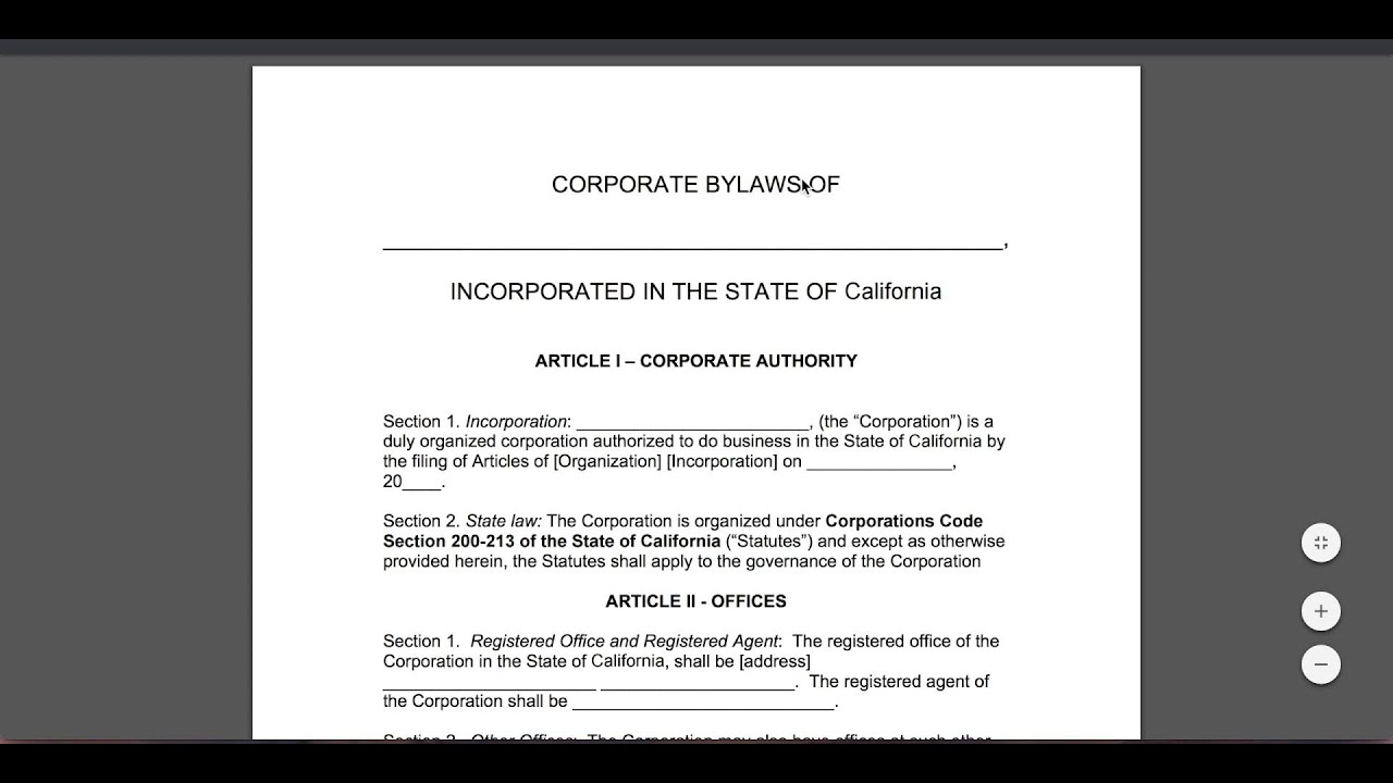 Corporate Bylaws Template | Free Corporate Bylaws Template Pdf Word Youtube