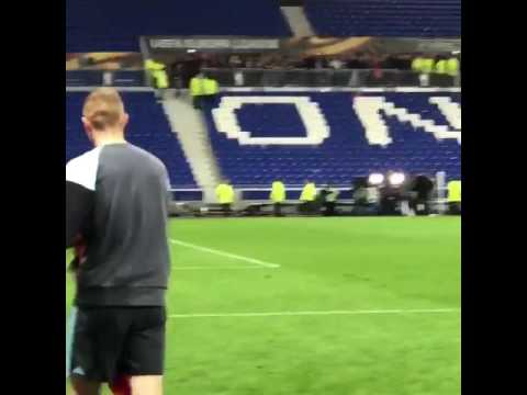 17 year old Ajax player Matthijs De Ligt leading the chants away at Lyon last night, class!