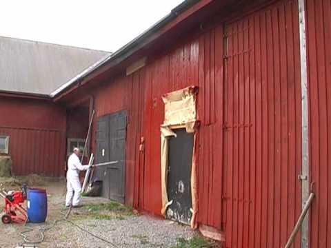 Unika Falu Rödfärg sprutning med Volumair färgspruta - YouTube QL-46