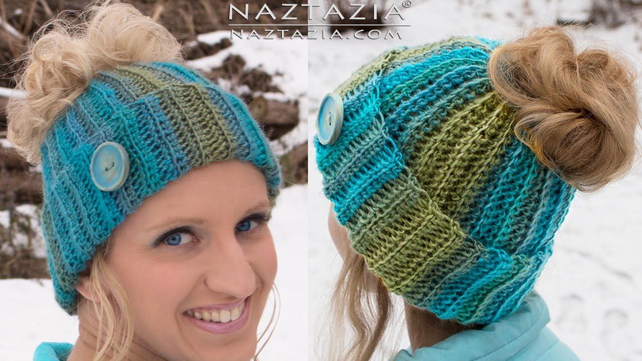 DIY Tutorial - Crochet Messy Bun Hat Beanie - Ribbed Bun Pony Tail ... 61b163c4af1