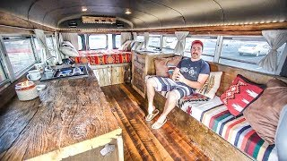 Awesome Mini Skoolie Built Into A Mancave ~ Toilet, Shower & Solar Built In