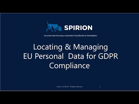 Locating & Managing EU Personal  Data for GDPR Compliance