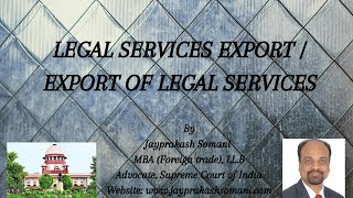 Legal Services Export / Export of Legal Services