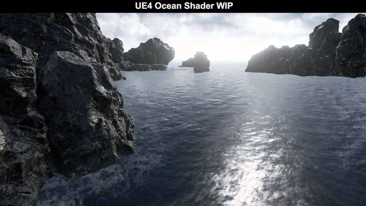 Parametric ocean shader WIP: Gerstner waves test 4 - UE4