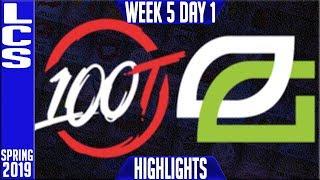 100 vs OPT Highlights   LCS Spring 2019 Week 5 Day 1   100 Thieves vs Optic Gaming