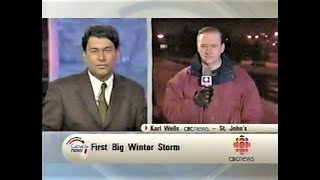 Karl Wells interviewed by Ian Hanomansing about first St. John's storm of 2002, Canada Now, CBC TV