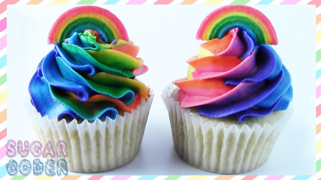 how to make rainbow swirl cupcakes