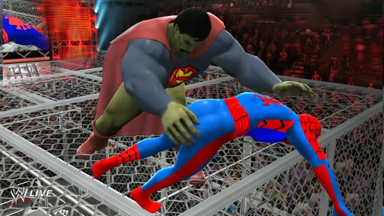 Download SPIDERMAN VS Superman As Hulk - Hell In A Cell Match