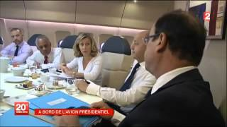 A BORD DE L'AVION PRESIDENTIEL.