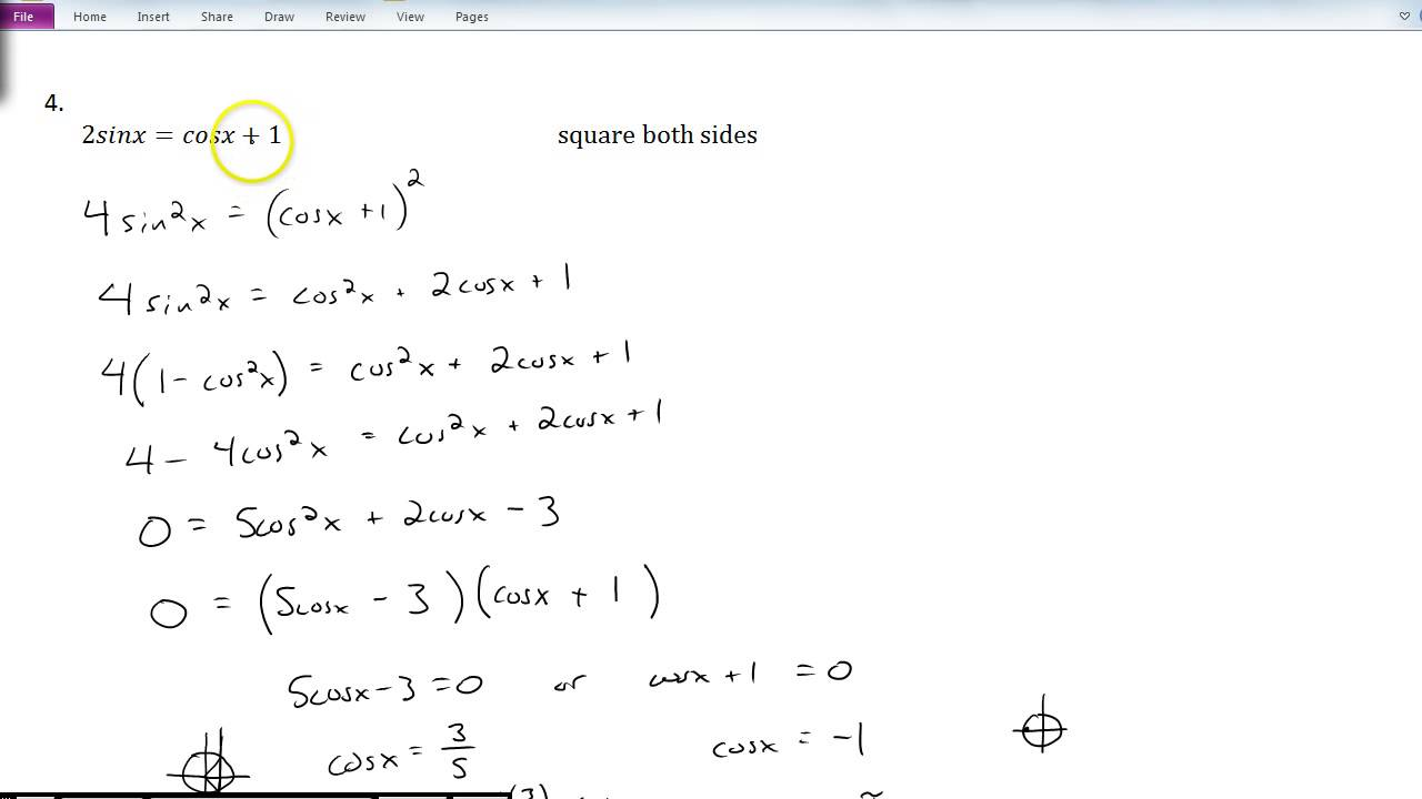 worksheet 5.3 Solving Trig Equations Practice Worksheet 1 Answers solving trigonometric equations youtube equations