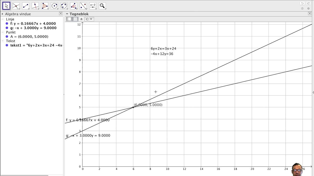 Geogebra 2 ligninger med 2 ubekendte