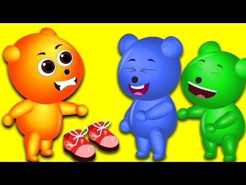 Mega Gummy bear crying tripping over shoelace finger family nursery rhymes for kids | Gummybear Fun