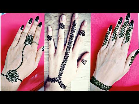 3 DIY lace back hand mehendi design tutorial | Latest easy simple bracelet henna designs
