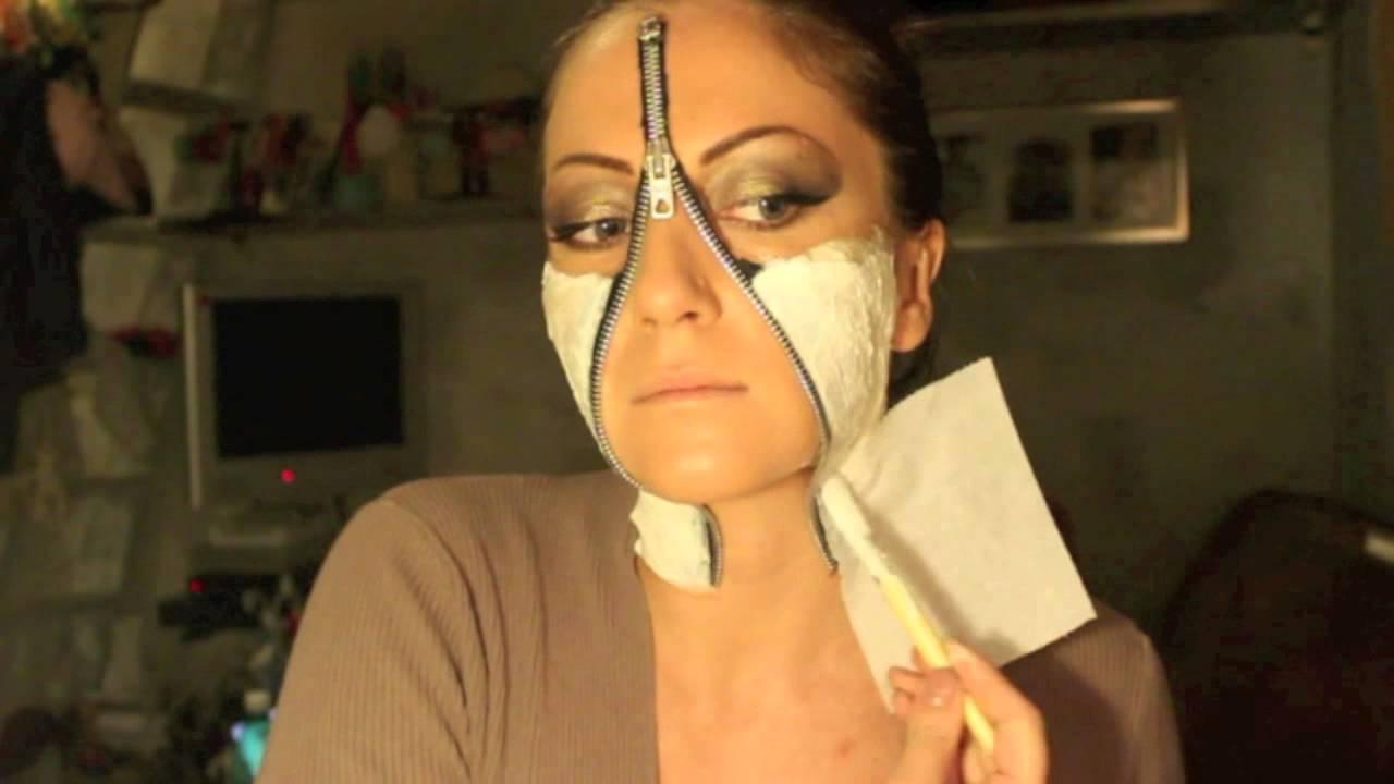 Makeup Tutorial Trucco Halloween 2014 - Zip / Unzipped Face - YouTube