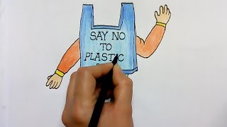 how to write save environment slogan || say no to plastic bags drawing for kids