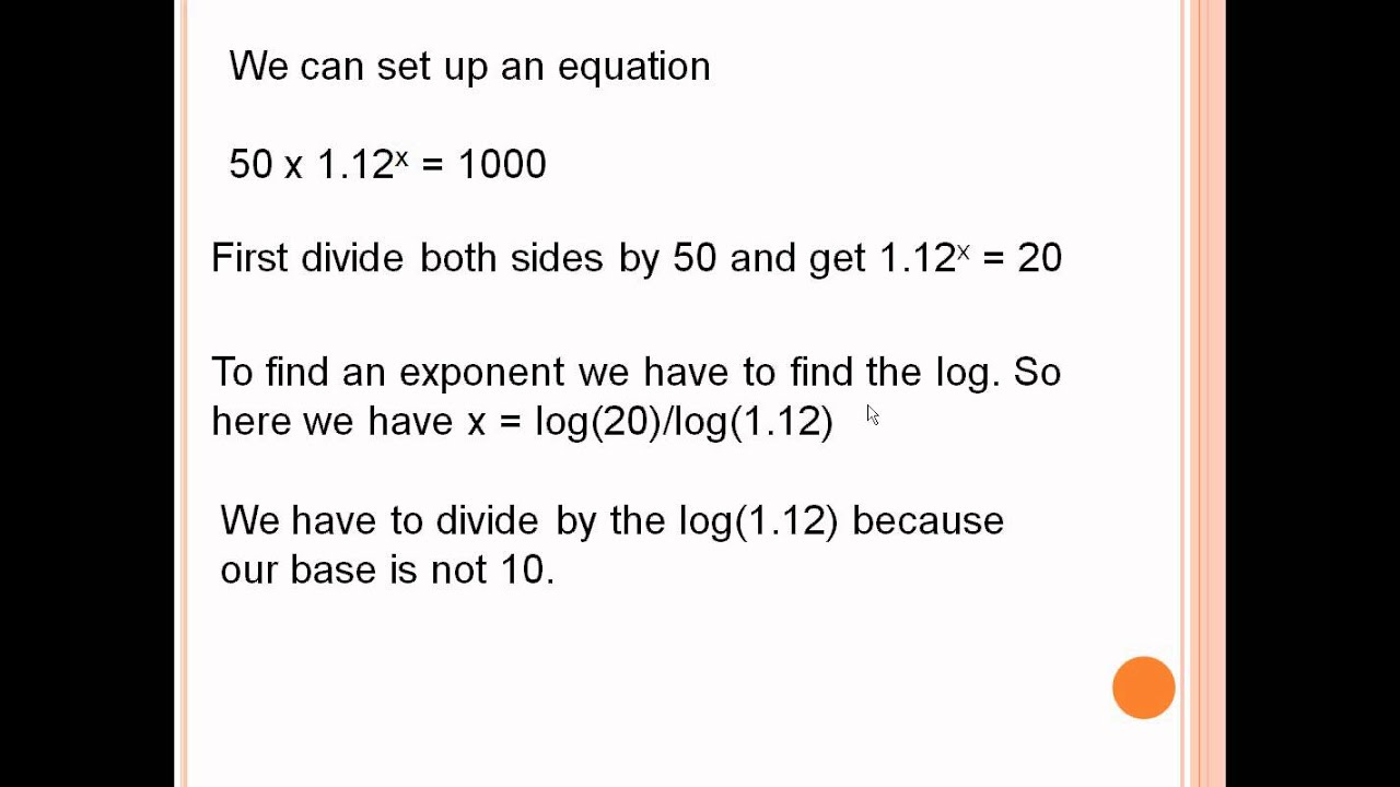 Word Problems Involving Logarithms Youtube