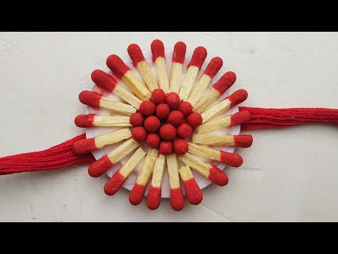 How to make a Matchstick rakhi ।  Rakhi making for raksa bandhan competition.