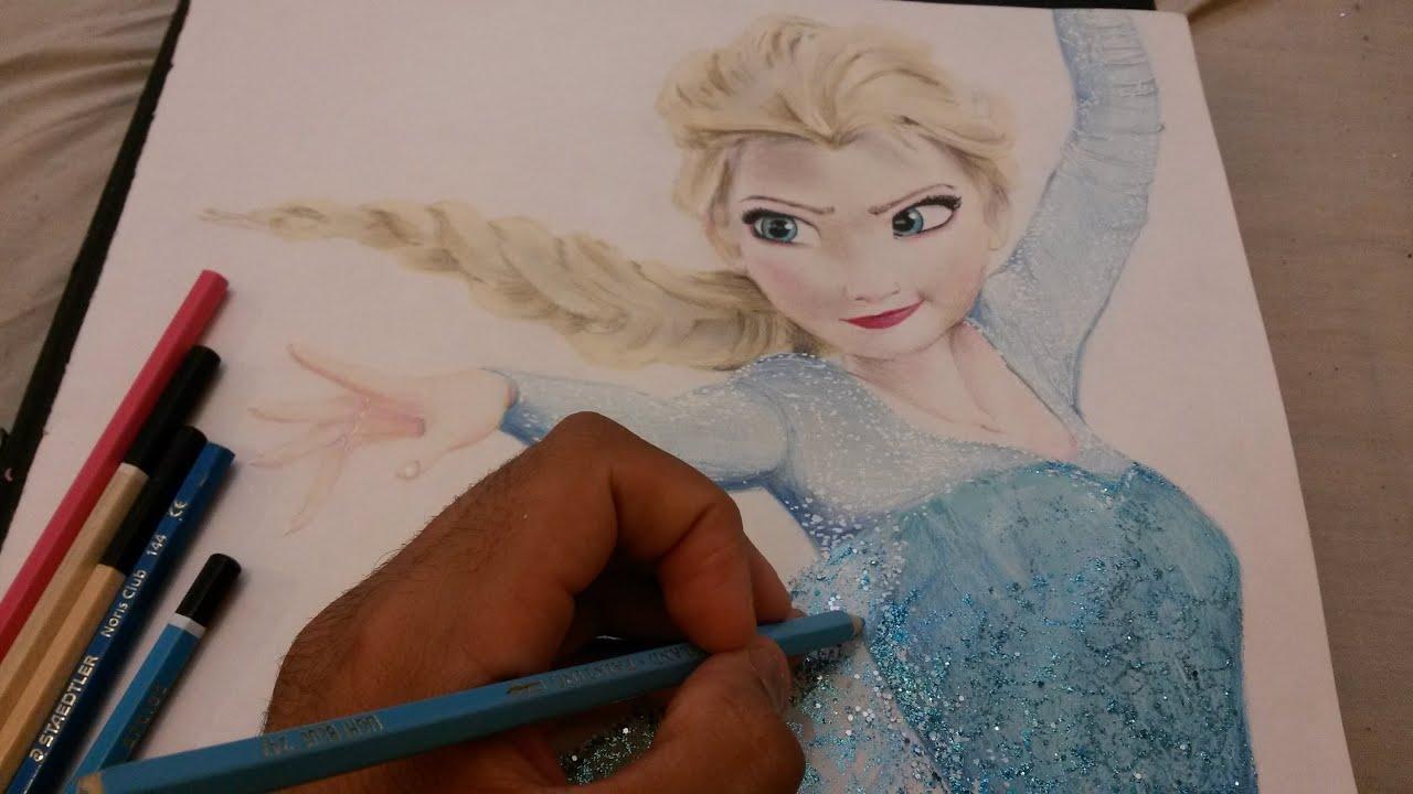 Disney Frozen Elsa Pencil Drawing Youtube