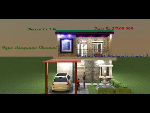 desain rumah minimalis lantai 2. 7 x 7 m - youtube