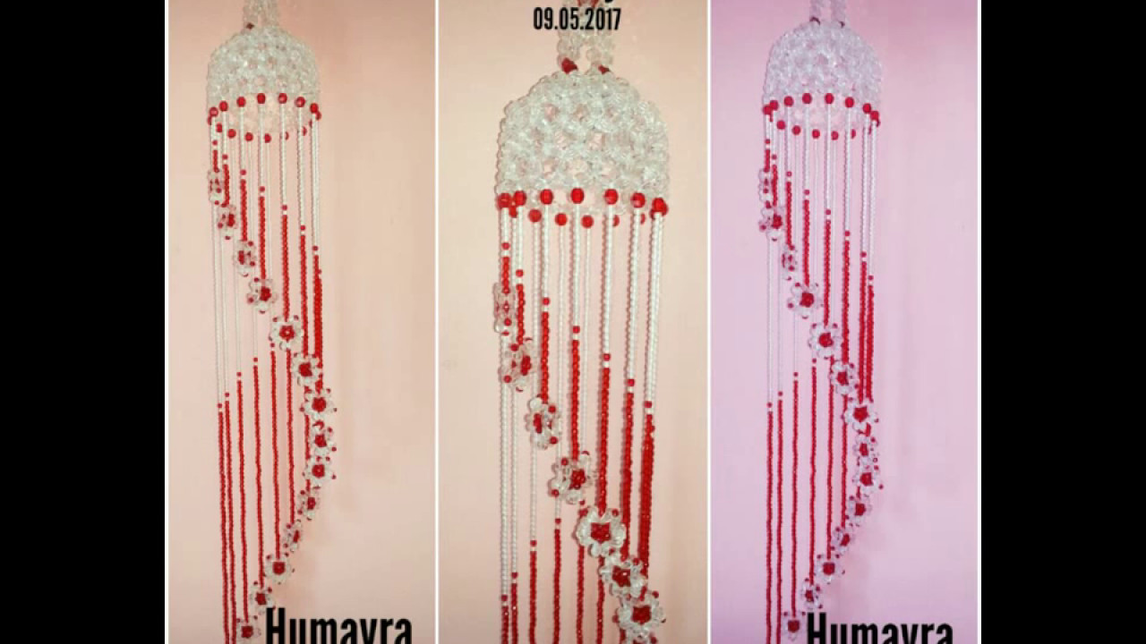 How To Make Beaded Wind Chime /Doorbell/ Wall Hanging (design 4)/পুতির  ডোরবেল/jhumar
