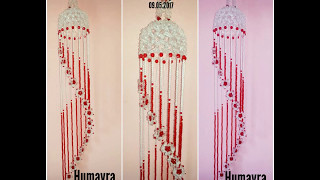 How to make beaded wind chime /Doorbell/ Wall Hanging  (design 4)/পুতির ডোরবেল/jhumar