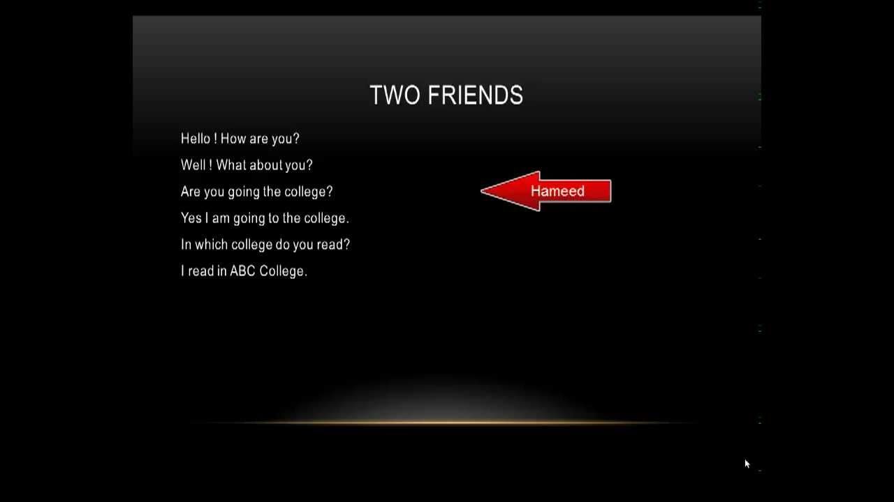 dialogue between two friends