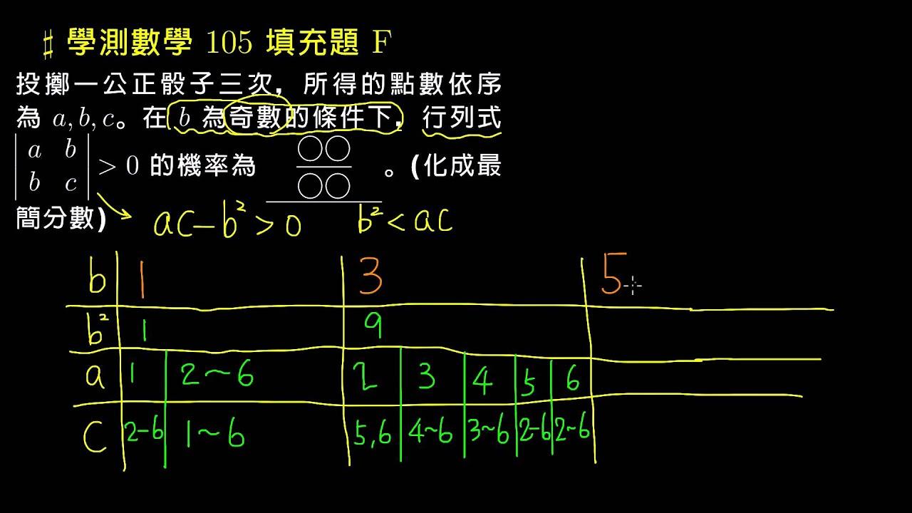 【學測數學】105 選填F:骰子的機率 - YouTube