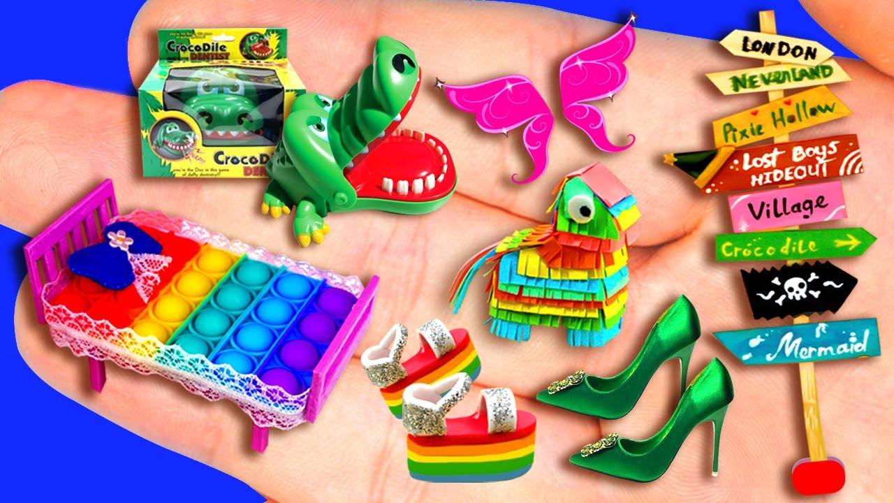 31 EASY MINIATURE CRAFTS IDEAS FOR DOLLHOUSE BARBIE ~ Pop It Bed, Pop It Sandals, Fairy Wings
