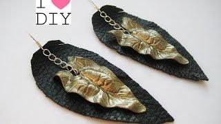 DIY Серьги из кожи своими руками. Мастер-класс \ Earrings made of leather \ Tutorial