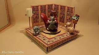Carillon in legno e ceramica da collezione: Gatti, Libreria e Poltrona (melodia: Moon river)
