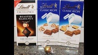 Lindt Lindor Butter Pecan, Excellence: Roasted Hazelnut, Classic Recipe: Salted Pretzel & Wafer