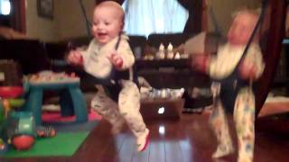 cutest twin boys laughing in jolly jumpers