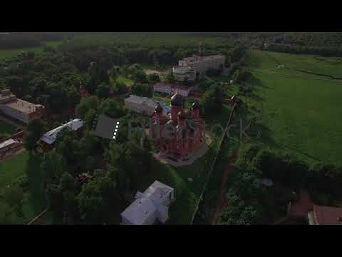 Russian Lukino village with Holy Cross Monastery and Ascension Cathedral, aerial