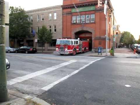 Baltimore Fire Truck Leaving the Station