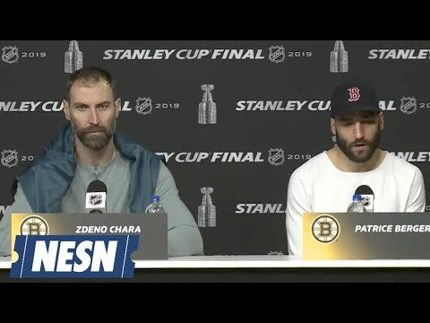zdeno-chara,-patrice-bergeron-bruins-vs.-blues-stanley-cup-final-off-day-presser