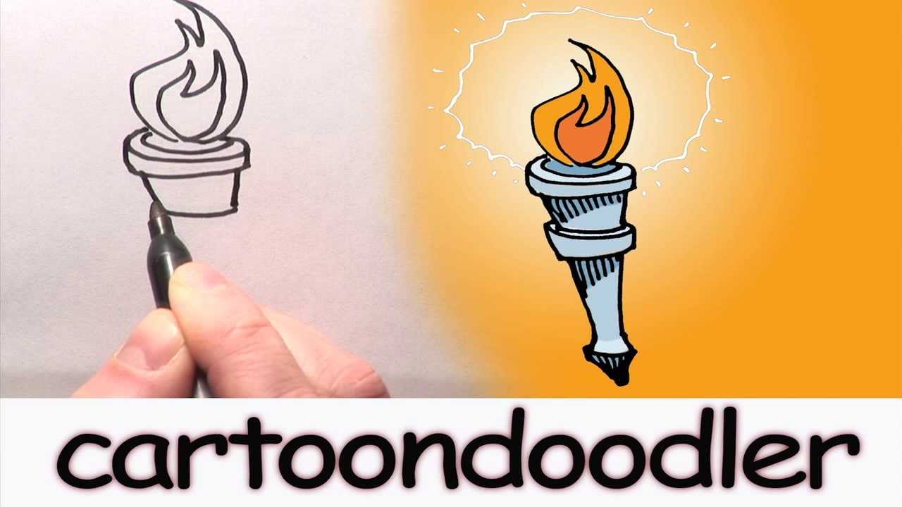 How to Draw a Cartoon Olympic Torch - YouTube for Olympic Torch Fire  300lyp