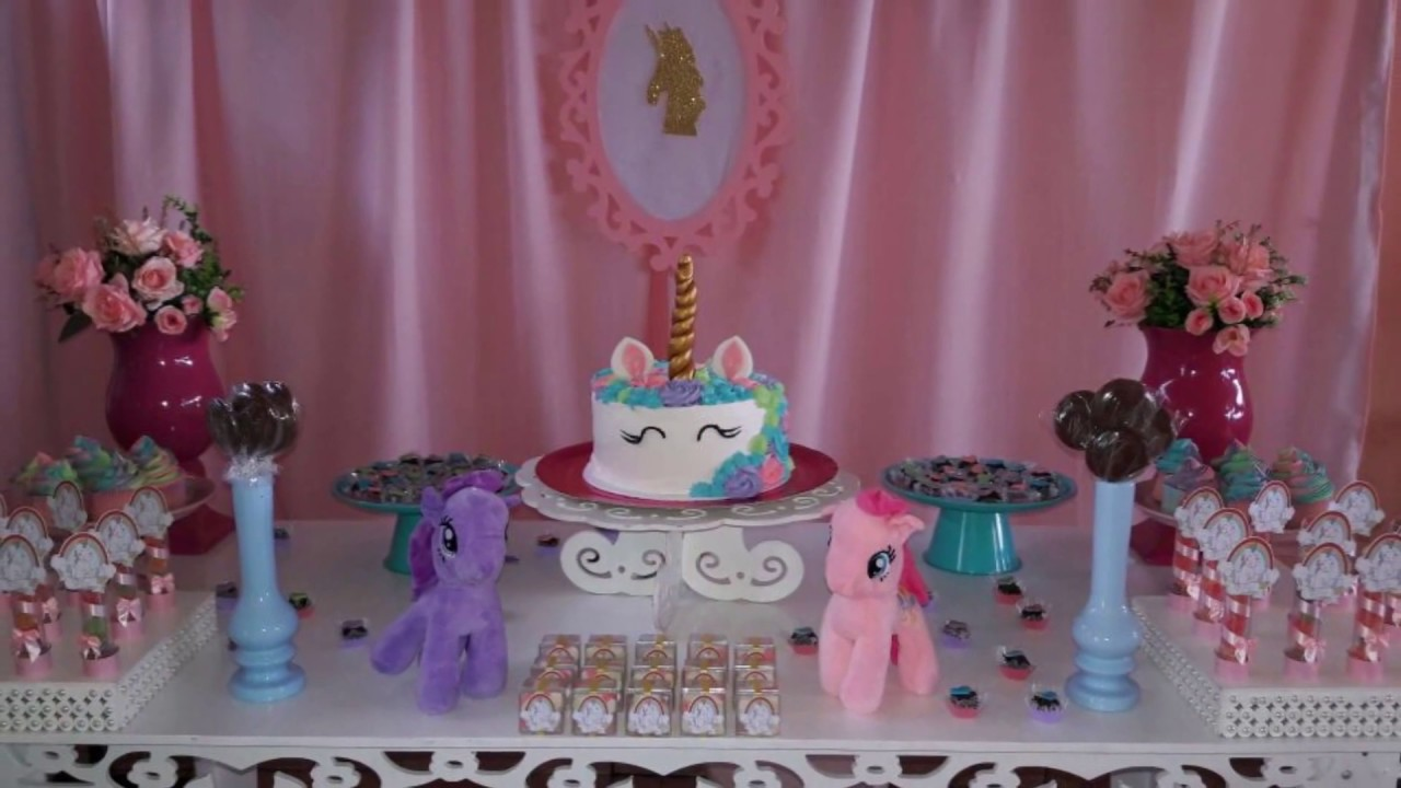 Tema Unicórnio Idéias de decoraç u00e3o YouTube -> Decoracao De Unicornio Infantil