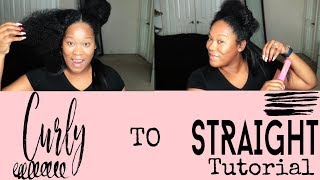 Curly to Straight | Natural Hair Routine Tutorial