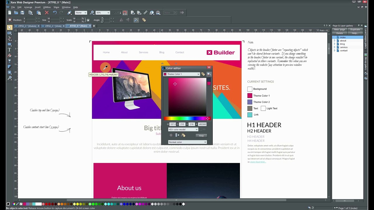 How To Change Theme Colors In Xara Web Designer Youtube